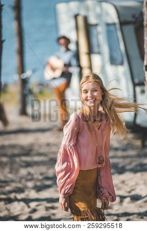 Smiling Hippie Girl Dancing While
