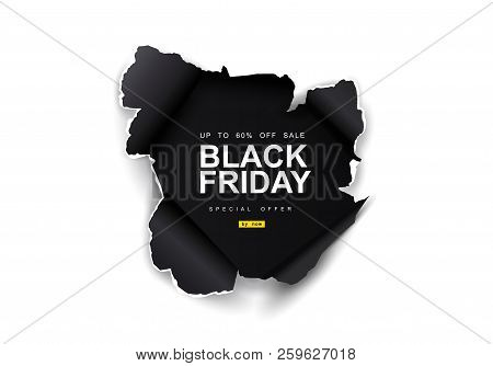 poster of Black Friday Sale Background. Hole In Black Paper On White Background. Big Sale, Black Friday, Creat
