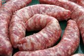 foto of ground-beef  - close up of raw sausages - JPG