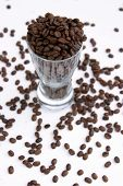 Glass beer mug filled with unground coffee beans on a gold background