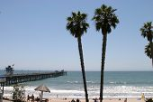 view of San Clemente Pier and Beach in Southern California,