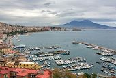 Panorama of Naples, view of the port in the Gulf of Naples and Mount Vesuvius. The province of Campa poster
