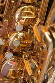 close up of a saxophone
