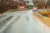 Rain Drops On The Car, View Through Wet Glass, Rainy Weather, Wet Road poster
