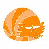 flat color style cartoon grumpy cat poster