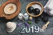 Set For Spa Procedures With Numbers 2019 And All The Necessary Props For Hot Massage And Aromatherap poster
