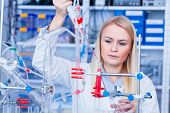 Female laboratory assistant with chemical experiment in scientific laboratory. Female medical or sci poster