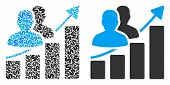 Audience Growth Bar Chart Mosaic Of Dollar Symbols And Small Round Pixels. Vector Dollar Currency Sy poster