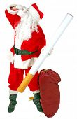 Santa Claus holds a Giant Cigarette and and pinches his nose as he says NO SMOKING  isolated on whit