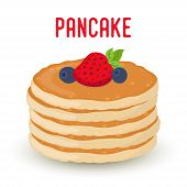 Vector Cartoon Pile Of Pancakes With Berries, Traditional Morning Food. Bakery Product With Strawber poster