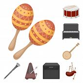 Musical Instrument Cartoon Icons In Set Collection For Design. String And Wind Instrument Vector Sym poster