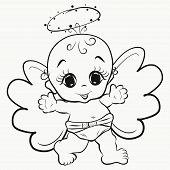 Coloring, Happy Angel Baby With Halo Toy Child poster