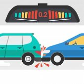 Vector Flat Illustration Of Two Cars In Accident And Warning Signal Of Electronic Device - Parktroni poster
