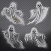 Vector Set Of Translucent Ghosts - Happy, Sad Or Angry, Smiling Phantom Silhouettes Isolated On Tran poster