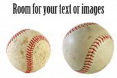 vários pontos de vista de uma bola de beisebol, isolado no branco
