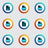 Types Icons Colored Set With Open Type, File Rar, Search File And Other True Type Elements. Isolated poster
