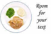 foto of frozen tv dinner  - A classic TV Dinner on a white plate with a blue edge - JPG