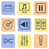 Audio Icons Set With Loudspeakers, Shuffle, Tape And Other Gramophone Elements. Isolated  Illustrati poster