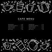 Chalkboard Cafe Menu With Coffee Cups And Coffee Pods In Doodle Style. Handdrawn Vector Illustration poster
