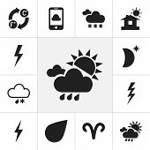 Set Of 12 Editable Air Icons. Includes Symbols Such As Flash, Celsius Fahrenheit, Drop And More. Can poster