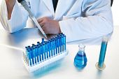 forensic analysis, science, medical, chemistry - a chemist works in his laboratory with various chem