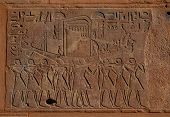 Egyptian funeral boat, relief from Hatshepsut's Red Chapel in Karnak Temple near Luxor, Egypt