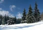 Snow-covered ski resort house in the snow-covered firry forest in the Czech mountains