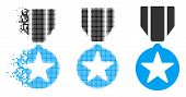 Army Star Award Icon In Dispersed, Dotted Halftone And Whole Variants. Particles Are Combined Into V poster