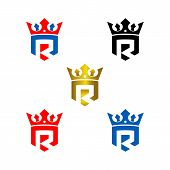 Letter R With Crown And Shield. Crown Logo, Luxury Logo, Boutique Logo, Lawyer Office Logo poster