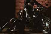 Hell Riders. Biker Couple Are Hell Riders. Hell Riders On Motorcycle. Man And Woman Hell Riders In L poster