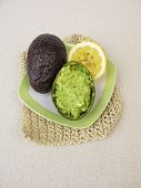 Homemade Guacamole With Lemon In Avocado Peel poster