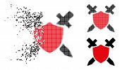 Guard Shield Icon In Fractured, Pixelated Halftone And Whole Variants. Pieces Are Combined Into Vect poster