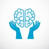 Human Anatomical Brain With Tender Defending Hands Of Care. Vector Illustration, Logo Or Icon. Care  poster