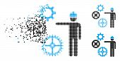 Gears Mechanics Presentation Icon In Dispersed, Pixelated Halftone And Solid Versions. Particles Are poster