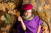 Child Lay Wooden Background Fallen Leaves Top View. Knitted Accessory Fashion Detail. Fashion Kid Gi poster