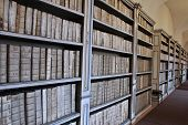 Old monastery library full of ancient medical books