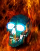 Magic transparent ice skull burning in terrible flames