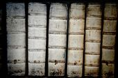 Detail of ancient book backbones - tomes in latin from 17th century
