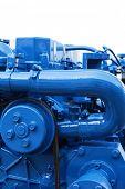 Brand new marine diesel engine from a boat. poster