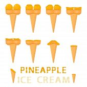Vector Illustration For Natural Pineapple Ice Cream On Waffle Cone. Ice Cream Pattern Consisting Of  poster