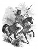 Comanche native american warrior on a horse. Illustration originally published in Ernst von Hesse-Wa