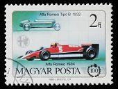 HUNGARY - CIRCA 1986: Hungarian commemorative stamp celebrating 100 years of the automobile. Alfa Ro
