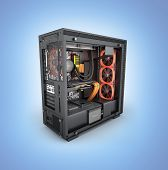 Open Computer With Red Lighting Effects And Water Cooled Cooling System On Blue Gradient Background  poster