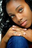 African American Teenage Girl Close Up With Beautiful Eyes