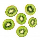 Kiwi Fruit Slices Macro.  Ripe Kiwi Fruit Isolated On White Background. Fresh Tropical Abstract Back poster