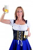 Beautiful Woman Wearing A Traditional Dirndl Costume For Oktoberfest Celebrations Serving Beer
