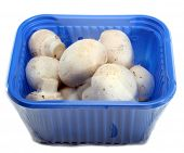 Fresh White Button Mushrooms In A Retail Package