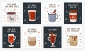 Vector Postcard Collection With Hot Drinks And Cozy Slogan In Flat Design. Hot Chocolate, Coffee, Co poster