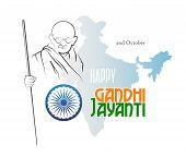 October 2. Happy Gandhi Jayanti. Abstract Sketch Of Mahatma Gandhi With Ashoka Chakra On The Silhoue poster