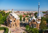 BARCELONA, SPAIN - AUGUST 26: The famous Park Guell on August 26, 2010 in Barcelona, Spain. The impr